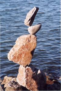 Orange rock balanced