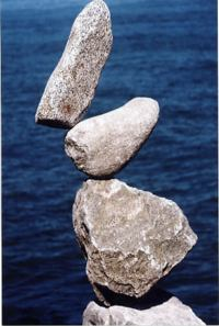 Three gray balance stones